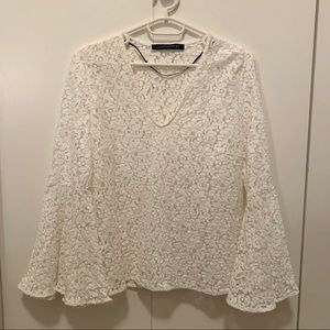 Zara Shirt in Floral Lace & Long Bell Sleeves